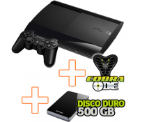 PS3 Super Slim 500 GB + COBRA ODE + Disco Duro Externo 500 GB